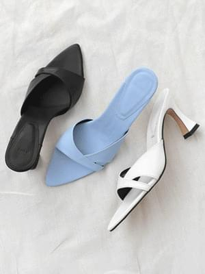 Isshu V Cut Unbalanced Slim Pointed Nose Mule Heel Sandal 2524