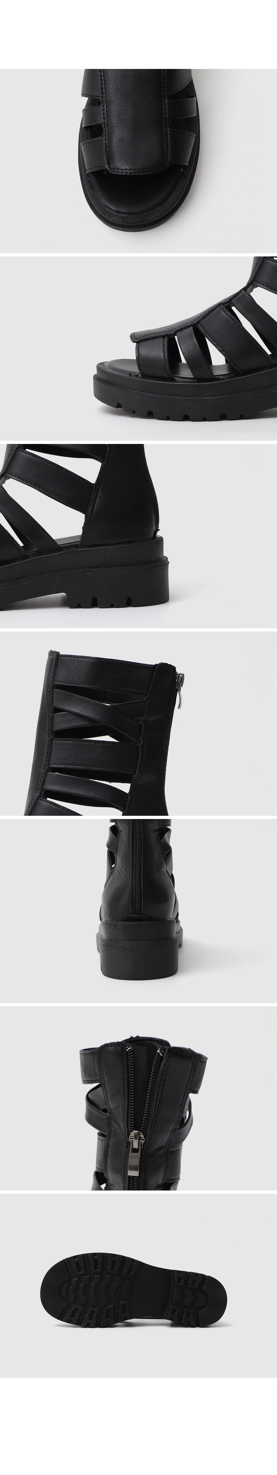 Isshu Glady Back Zip Whole Heel Middle Heel Sandals 10977 ♡First Sold Out♡