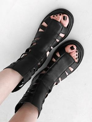 Isshu Glady White Zipper Full Heel Middle Heel Sandals 10977