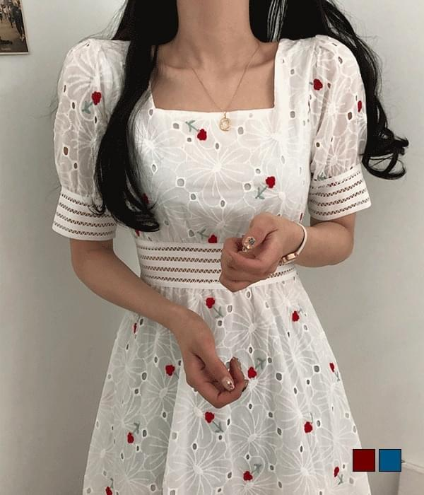 Sherry Flower Punching Embroidery Square Neck Long Dress