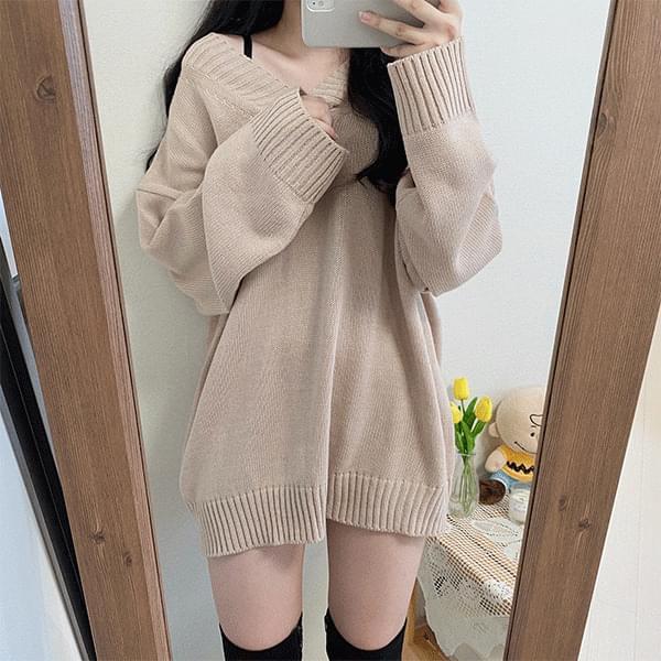Bonnie V-Neck Knitwear Long Dress