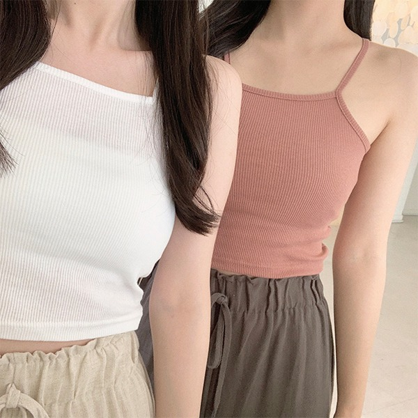 9 kinds of colored Ribbed straps Sleeveless Crop