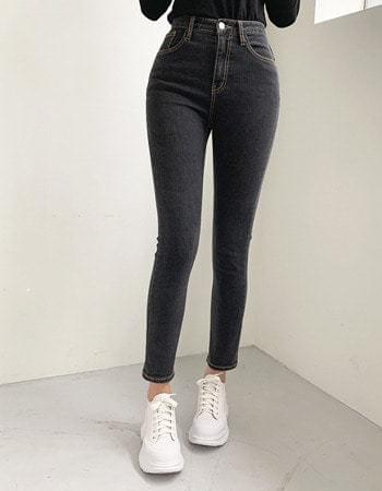 韓國空運 - Tied Van Hai Black Black Denim Slim Stitched Date Fleece-lined Denim Pants 牛仔褲