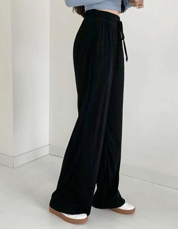 De's banding high-waist long trousers