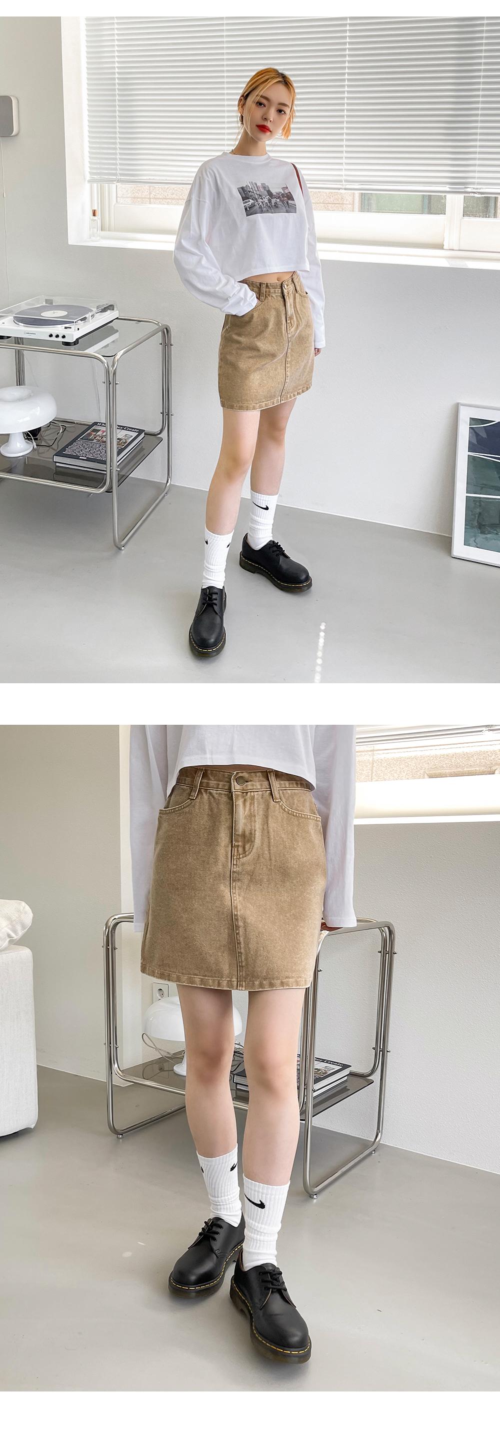 Sword Faded Denim Mini Skirt