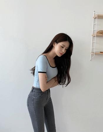 韓國空運 - Rib Square Neck Color Crop T-Shirt 短袖上衣