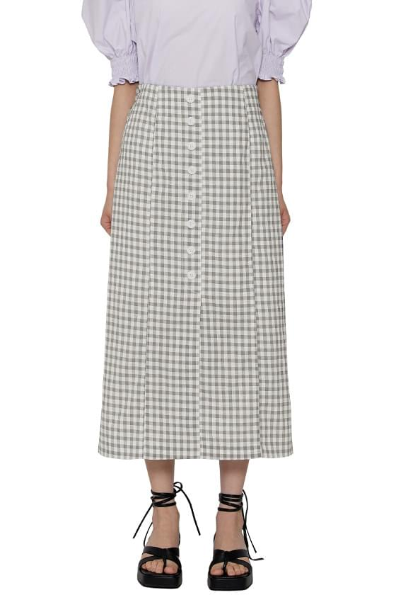 Straight button check long skirt