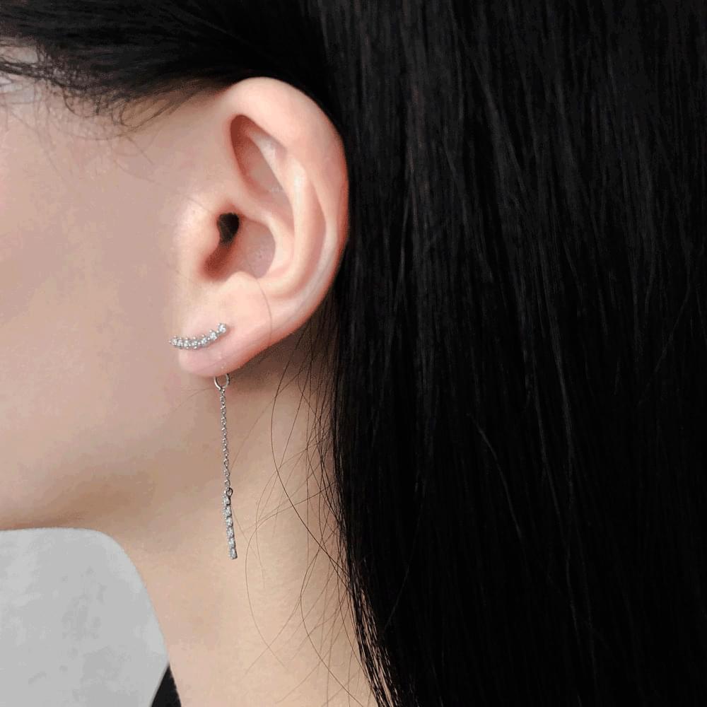 Cubic tie-drop earrings