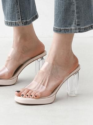 Transparent Clear Gaboshi Double Strap Mule Heel Slippers 10962 ♡9th sold out♡