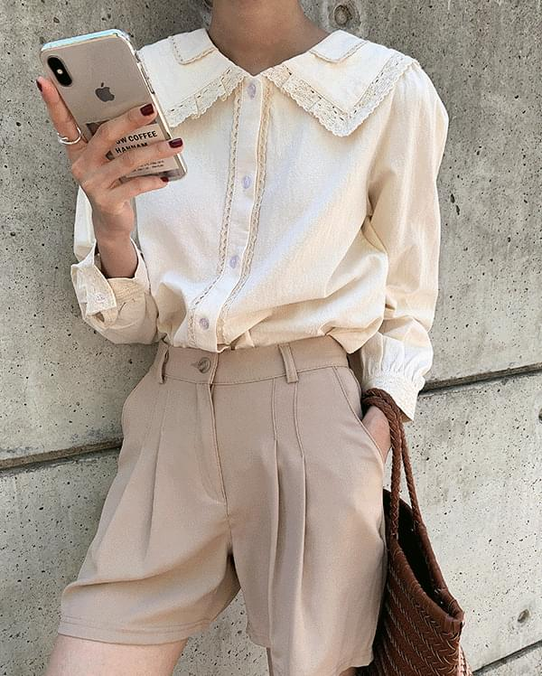 #Any place Lisa big-collar lace blouse