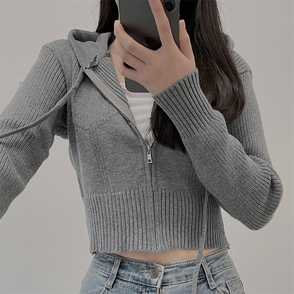 Soft touch, Knitwear cropped hooded zip-up