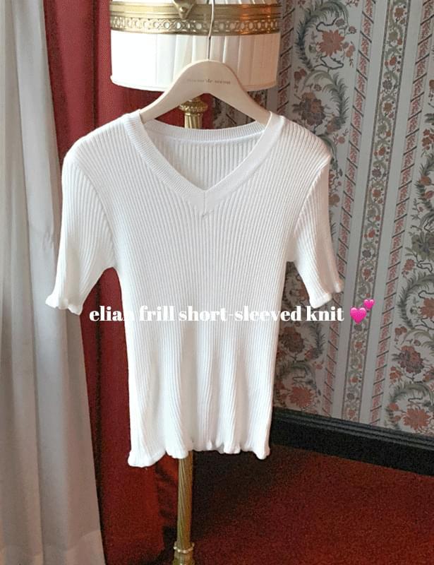 Elion frill Ribbed short sleeve knit