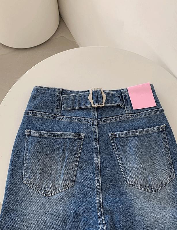 Sedum back buckle Flared pants