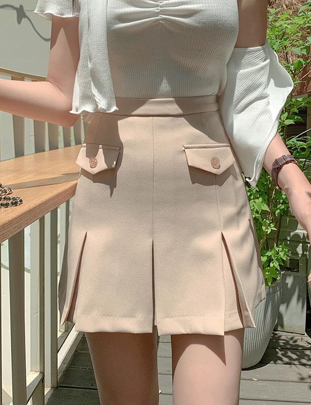 Lilian pleats pocket skirt