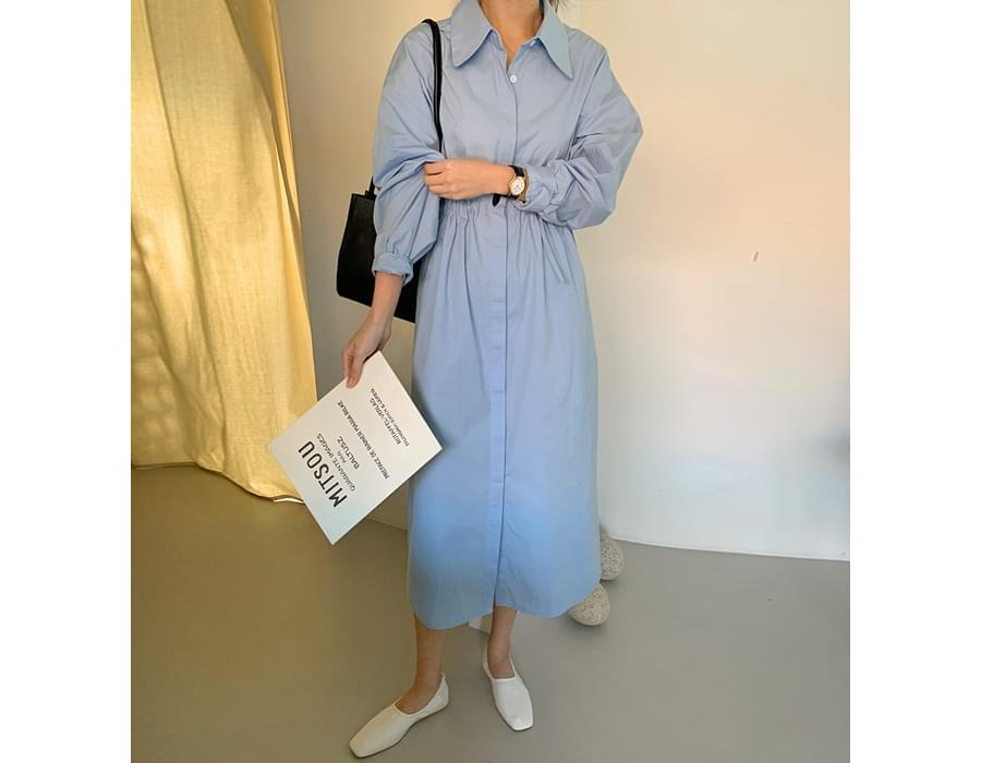 String Cotton Shirt Long Dress