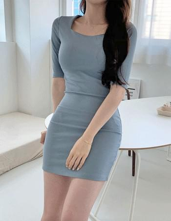 Lorna square neck midi Dress