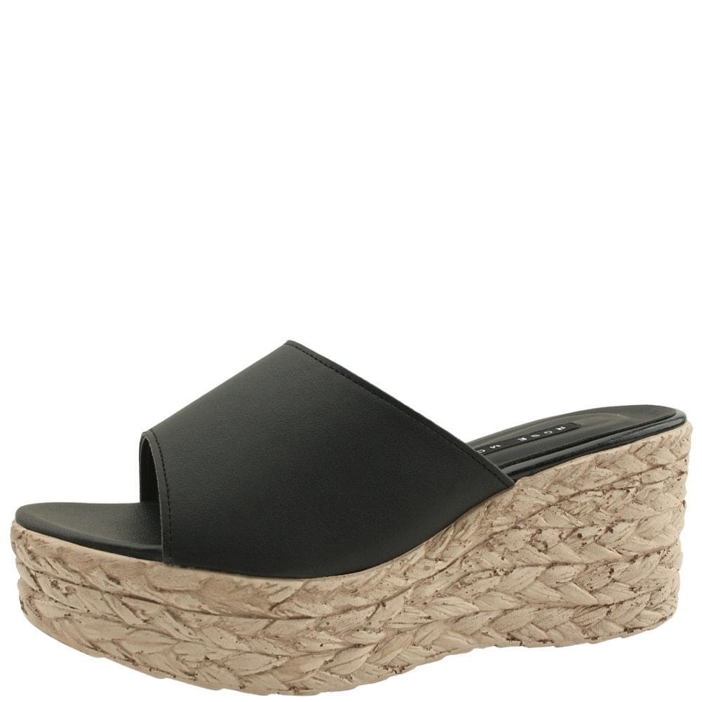 韓國空運 - Cowhide Espadue Wedge Heel Slippers Black 涼鞋