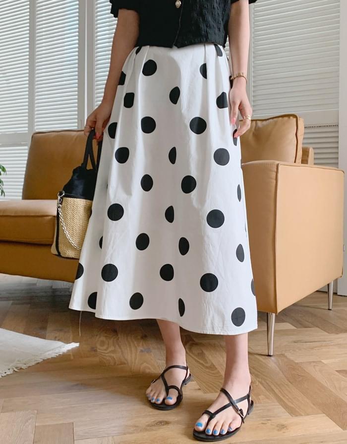 End Dot Pin Tuck Flare Long Skirt