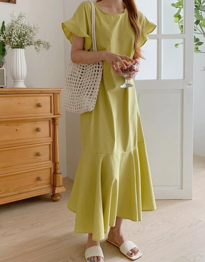 Jolie Linen Frill Sleeveless Long Dress