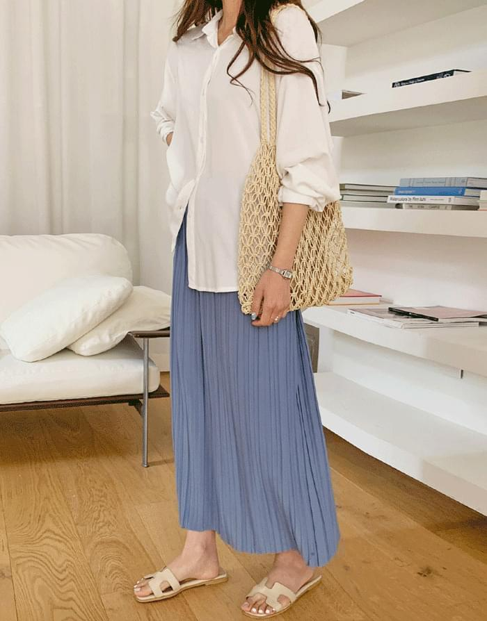 Lily pleat banding long skirt
