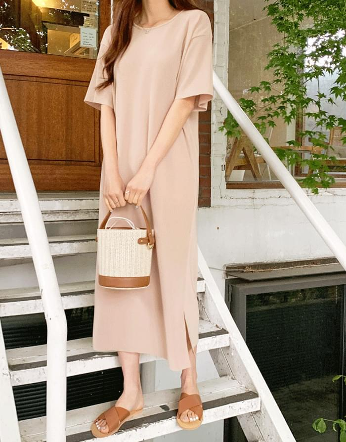 Sandy Loose-fit Cooling Ribbed Long Dress
