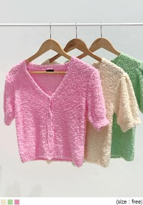 DIMOS PUFF 1/2 KNIT CARDIGAN