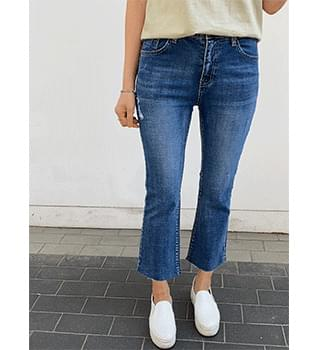 Chic Flared denim pants banding # 79126