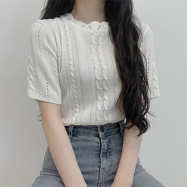 Daquazu Twisted Short Sleeve Knitwear