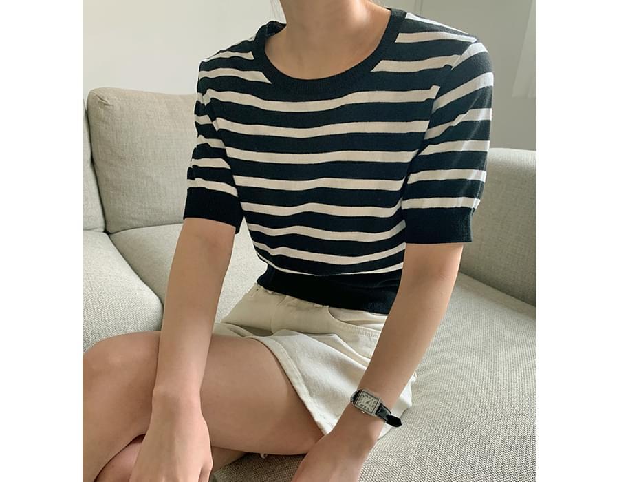 Daily Stripe Short Sleeve Knitwear