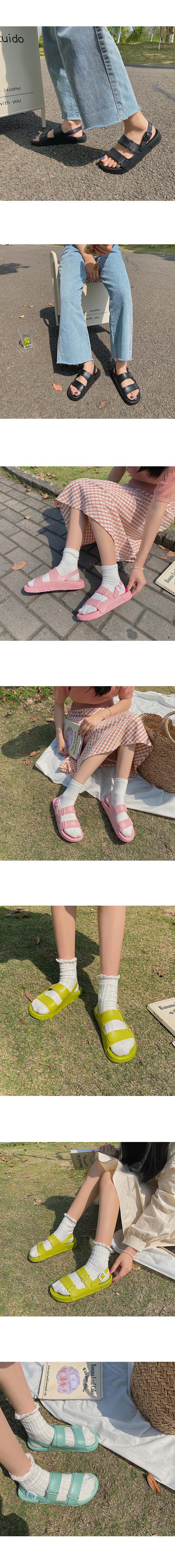 Fluffy Jelly Flat Sandals Green