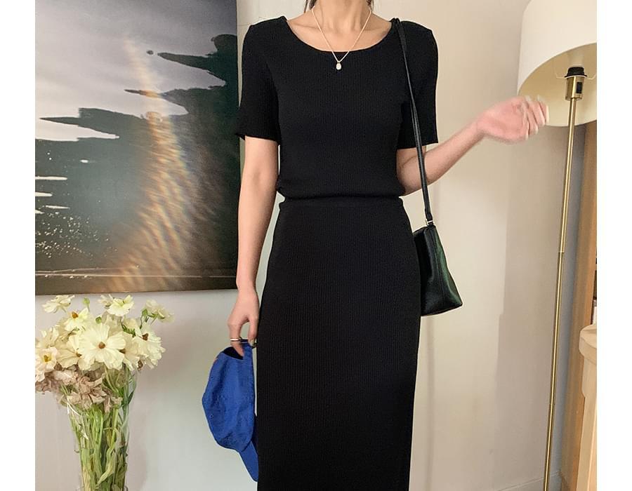 Slim Short Sleeve Knitwear & Ribbed Long Skirt SET