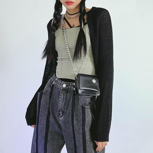 Chain fleece mini crossbody bag