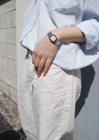 metallic silver wrist watch