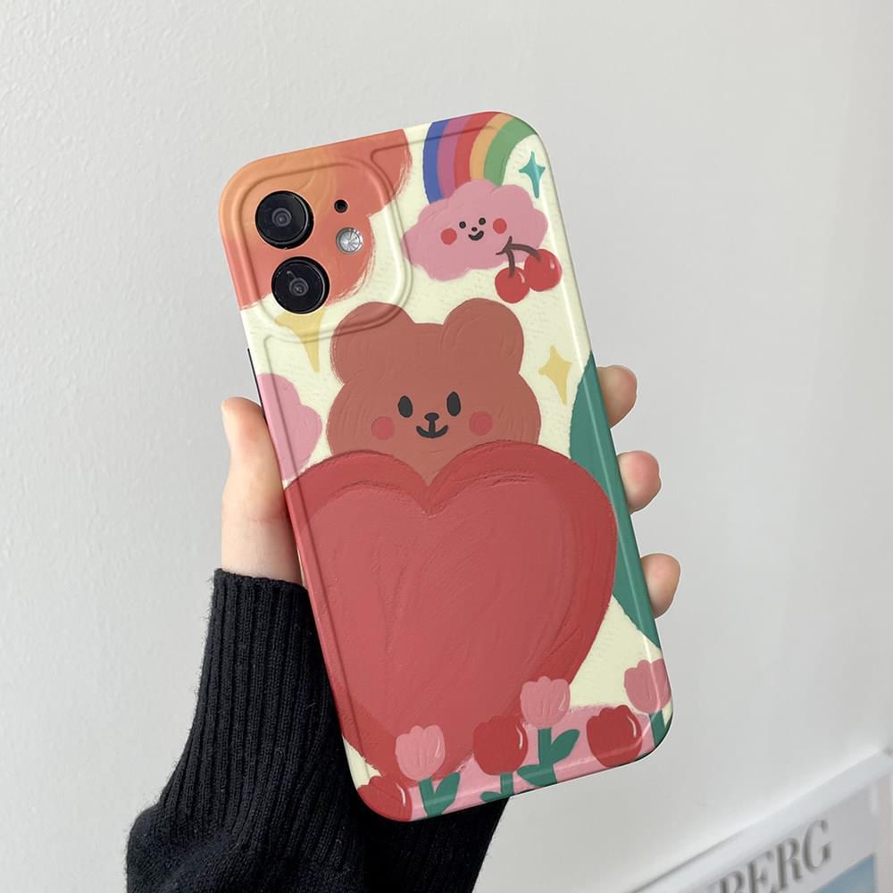 핑크 곰돌이 유화 페인팅 아이폰케이스