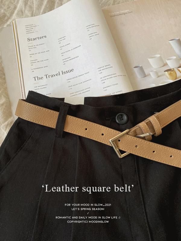 Leather square belt - 4color