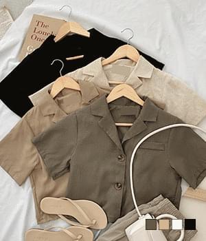 Urban Natural Linen Short Short Sleeve Jacket
