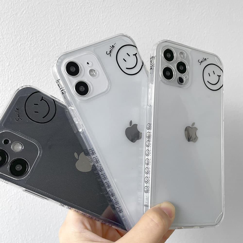심플 스마일 패턴 투명 젤리 아이폰케이스