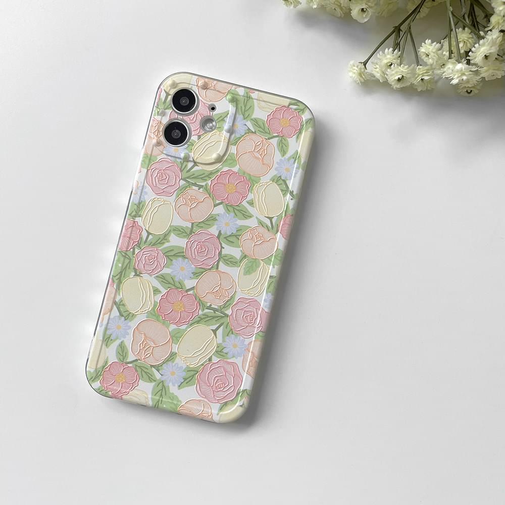 핑크 로즈 입체 패턴 아이폰케이스