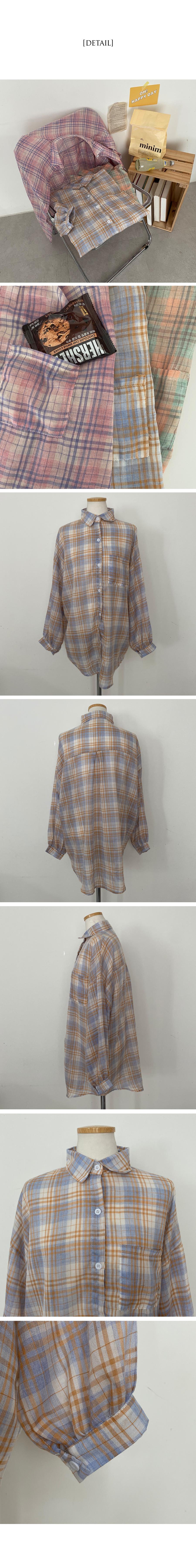 Hopper balloon check Loose-fit shirt