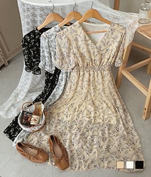 Diana Flower Bean Button Long Dress