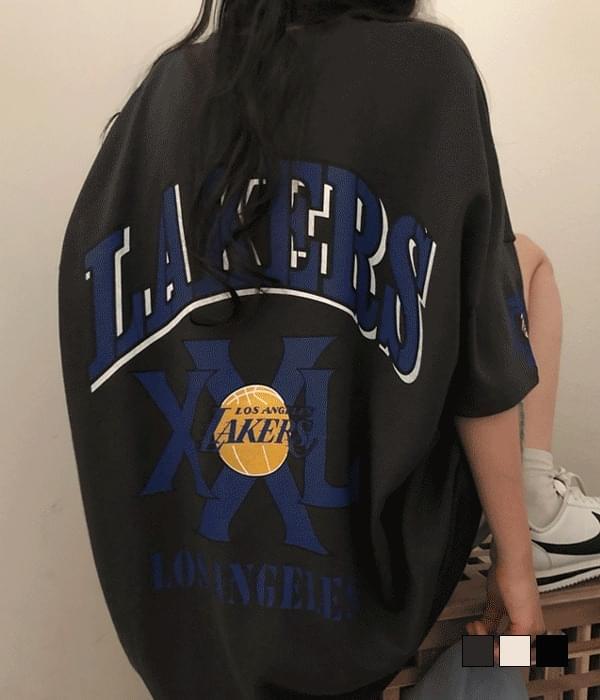 Raker back printed overfit short-sleeved T-shirt