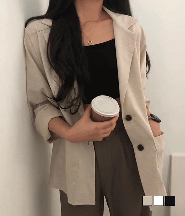 Single two-button linen jacket (Delayed delivery)
