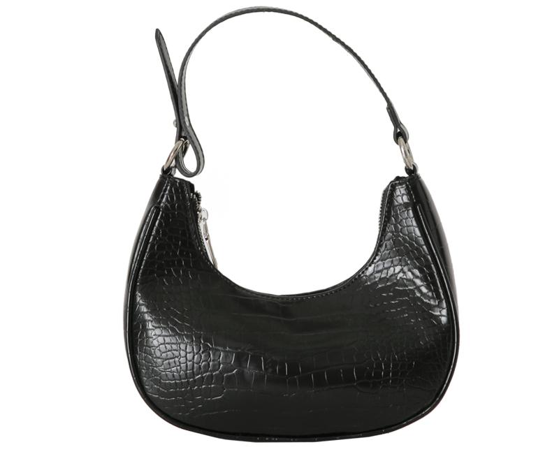Round crocodile shoulder bag