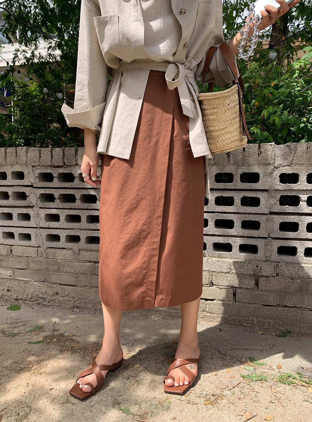 Mood brown linen wrap skirt