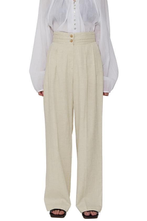 Tuxedo two-button linen slacks