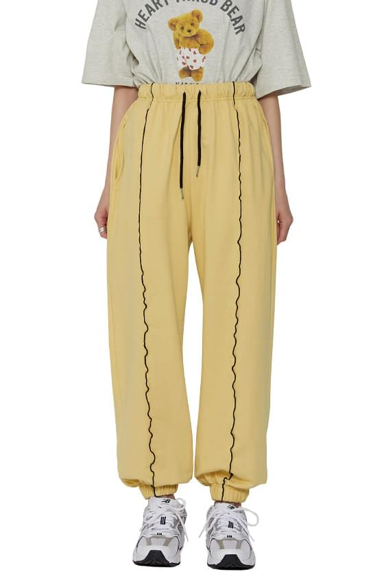 Piping pintuck jogger trousers
