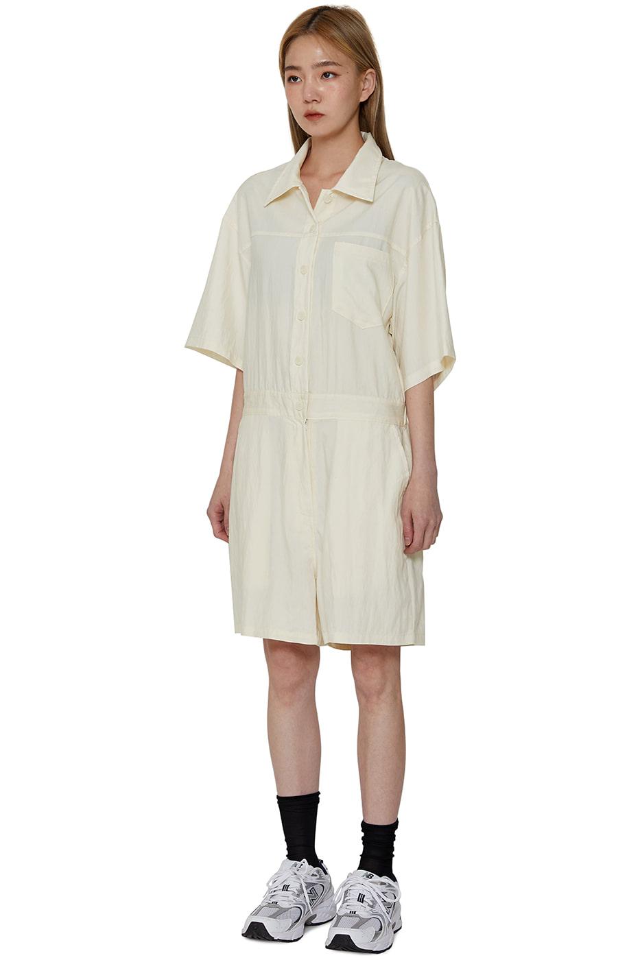 Loose nylon short jumpsuit