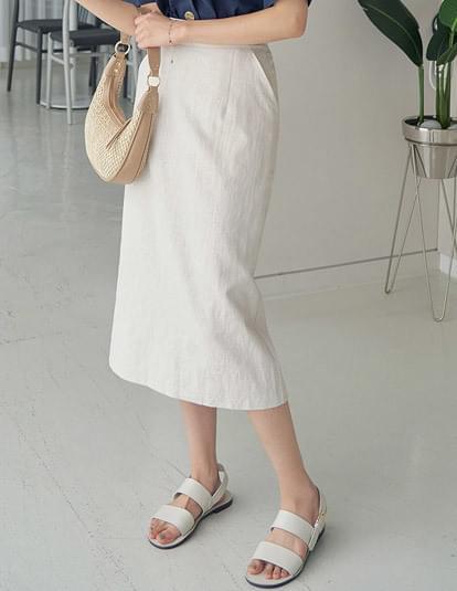 Sand linen banding skirt