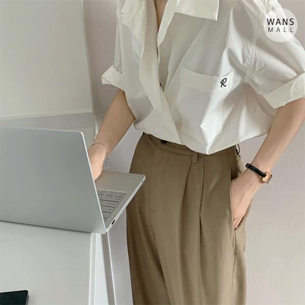 nb4682 Vivienne Unique Collar Short Sleeve Shirt
