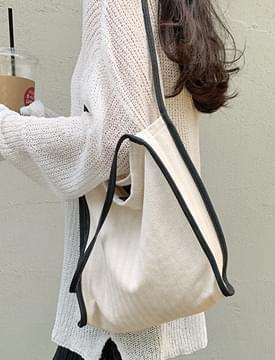 Herringbone line eco shoulder bag